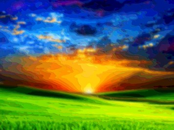 Layer Art Landscape Field Sunset